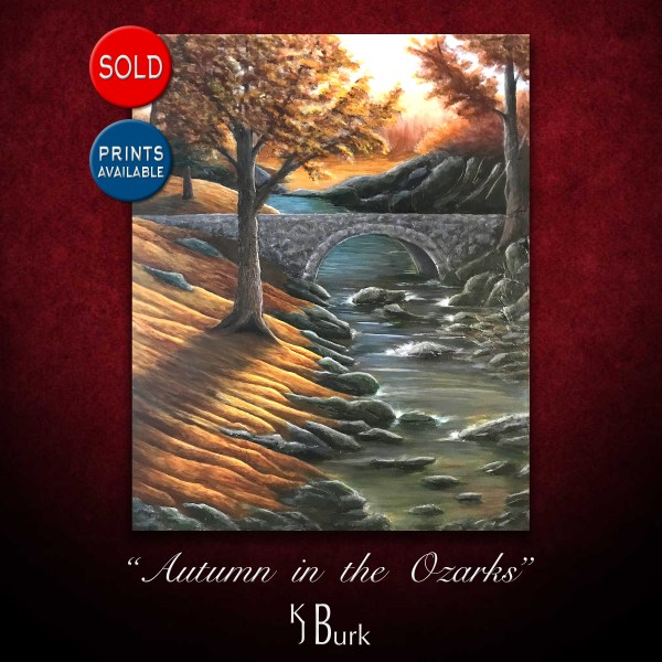KJsArtStudio.com | Autumn in the Ozarks ~ Original Heavily Textured Mixed Medium Landscape Painting by KJ Burk