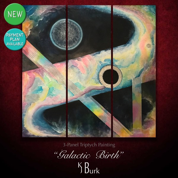 KJsArtStudio.com | Galactic Birth ~ Original Heavily Textured Galactic Abstract Triptych Painting by KJ Burk