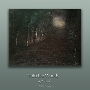 Into the Woods | Original dark forest landscape painting by KJ Burk