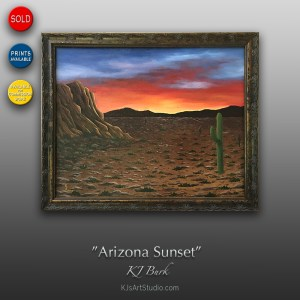 Arizona Sunset - Original Desert Landscape Painting by KJ Burk