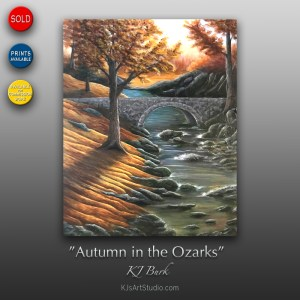 Autumn in the Ozarks - Original Heavily Textured Landscape Painting by KJ Burk