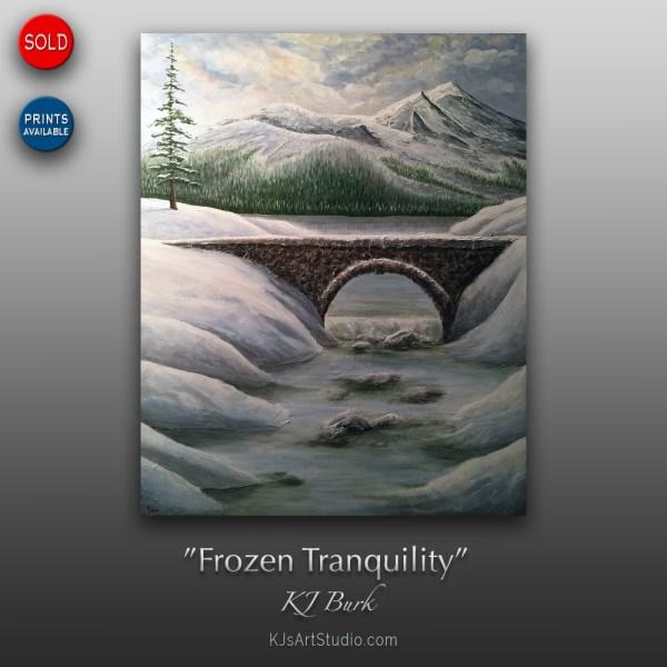 Frozen Tranquility - Original Textured Landscape Painting by KJ Burk
