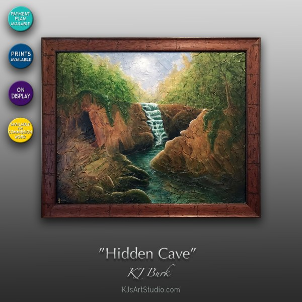 Hidden Cave - Original Heavily Textured Landscape Painting by KJ Burk