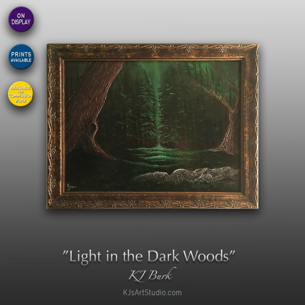 Light in the Dark Woods - Original Textured Landscape Painting by KJ Burk