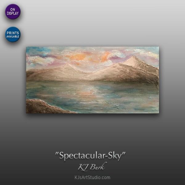 Spectacular Sky - Original Heavily Textured Landscape Painting by KJ Burk