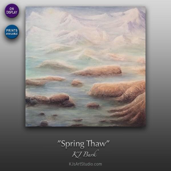 Spring Thaw - Original Heavily Textured Mixed Medium Contemporary Painting by KJ Burk