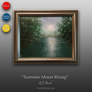 Summer Moon Rising - Original Landscape Painting by KJ Burk