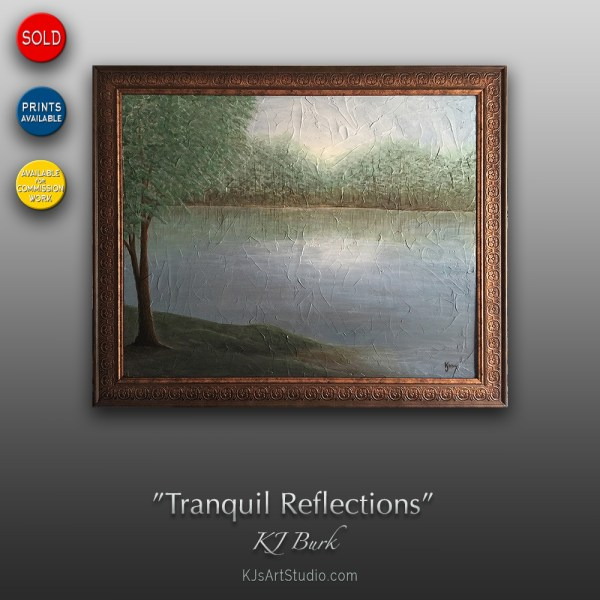 Tranquil Reflections - Original Textured Landscape Painting by KJ Burk
