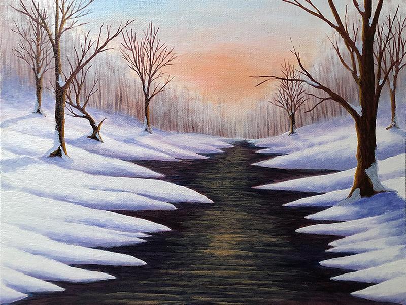 KJ's Art Studio | Winter Dawn - Original Commissioned Painting for SJR