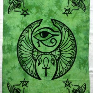 Egypt Eye Green Color Wall HANGING Poster Tapestry Dorm Decor hippie Tie Dye Art