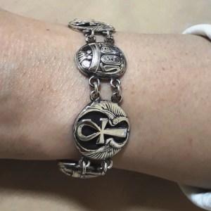 Hallmark-Egyptian-Silver-Cuff-Bracelet-Ankh-key-of-life-scarab-and-Lotus-flower