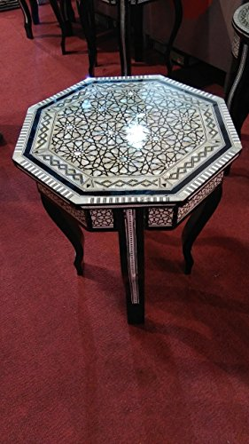 Handcrafted-Egyptian-Moroccan-Mother-of-Pearl-Inlay-Wood-Coffee-Octagon-Table-0