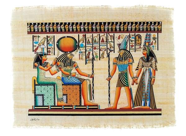 Leolana Egyptian Papyrus Horus Hand Painted Painting