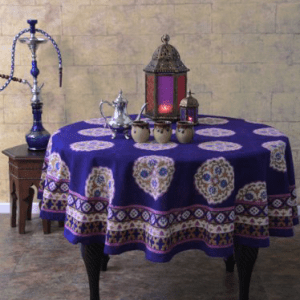 Purple Blue Moroccan Vintage Round Tablecloth 90 Round