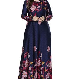 Qianliniuinc Women Cocktail Abaya Maxi Dress - Lady Long Sleeve Gown