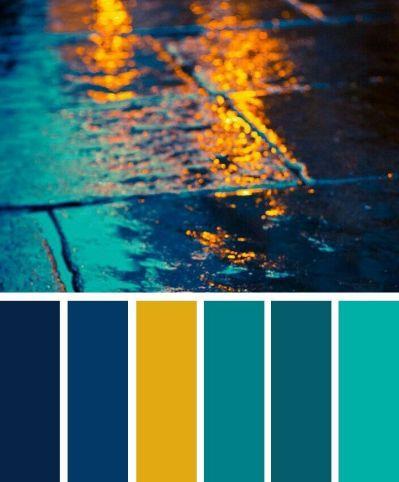 Palette de couleurs bleu foncé, bleu sarcelle et jaune #couleurs #fonce #jaune #palette #sarcelle