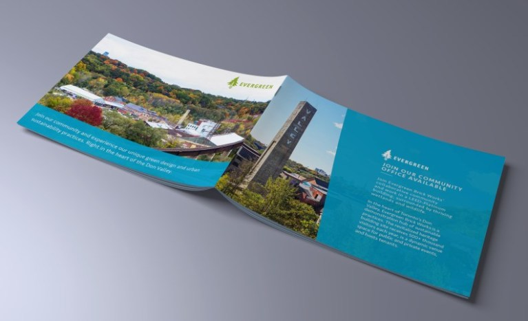 evergreen brickworks brochure design