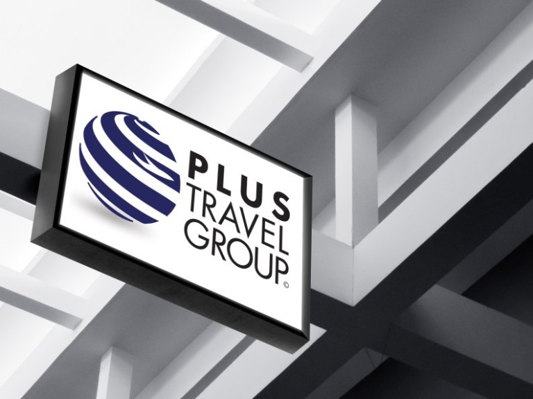 plus travel group logo design