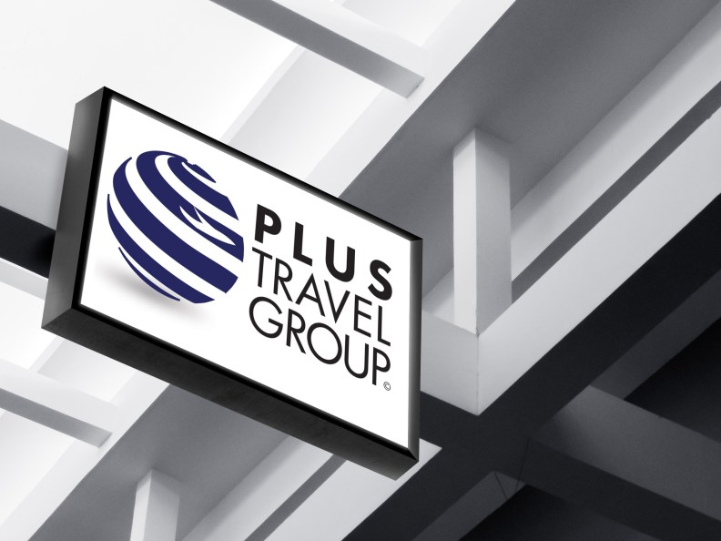 plus travel group logo design