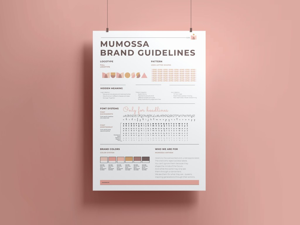 mumossa brand poster handing from two ropes from the ceiling