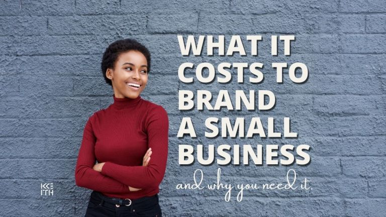 woman in maroon turtleneck staring to the right at text that says what does branding cost