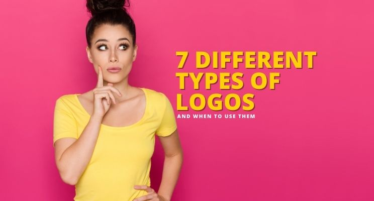 woman in yellow shirt with a high bun with one finger on face as through she is thinking about the 7 different types of logo designs and when to use them