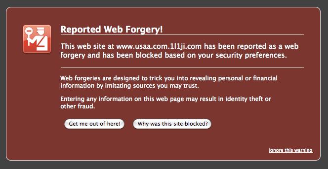 FireFox Blocks Phishing Site