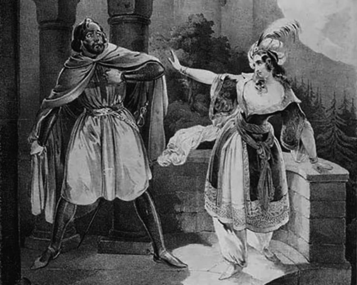 Rebecca redo att begå självmord framför tvångsäktenskap illustrerat cirka 1823. I en historia om en hjälte som är märkbart frånvarande och riddare som inte är särskilt ridderliga blir Rebecca karaktären med mest integritet som symboliserar judarnas strävan efter identitet i ett samtida Europa.
