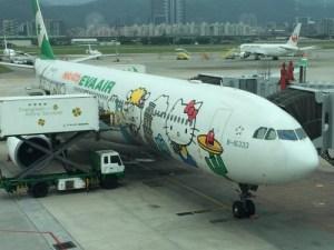 「羽田〜松山(台湾)」キティーちゃんでいっぱいのエバー航空