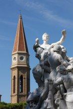 Blick auf den Dom vom Park Paseggio del Prato in Arezzo