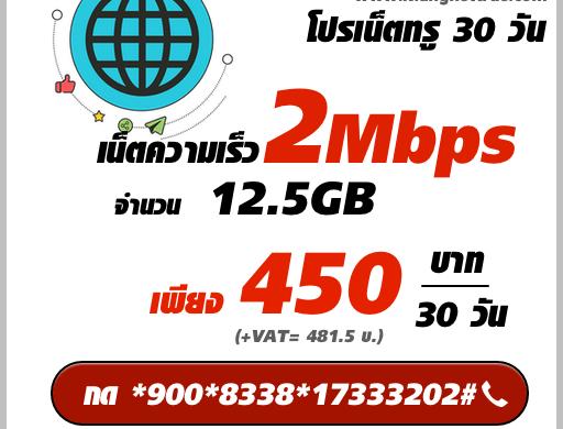 เน็ตทรู 30 วัน ความเร็ว 2Mbps รายเดือน 450 บาท