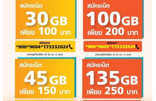 เน็ตทรูลูกค้าใหม่ เติมเงิน เน็ต 30,45,100,135GB