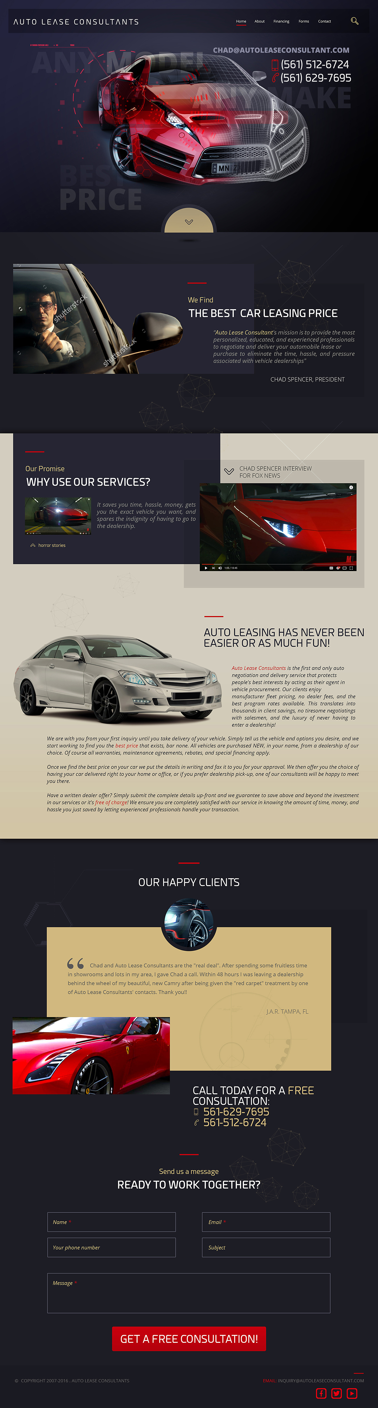 Auto Lease Consultant Website Design, Branding and Development