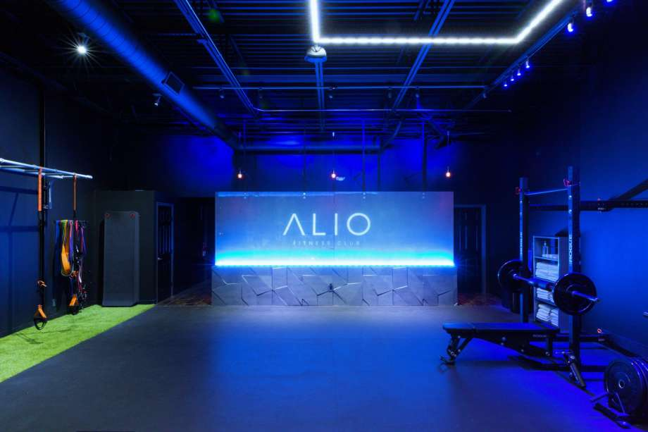 alio fitness club neon sign logo design