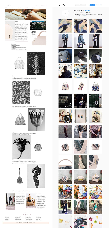 ONESIXONE luxury bags website and instagram branding