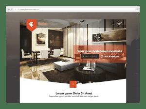 Browser window web design interior architect