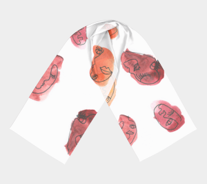 Dream Fragments chiffon long scarf with abstract watercolor print Klangwelt