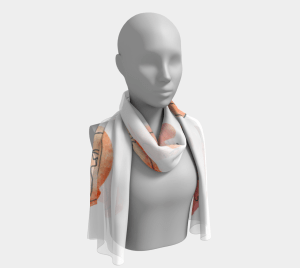 Dream Fragments II chiffon long scarf with abstract watercolor print Klangwelt