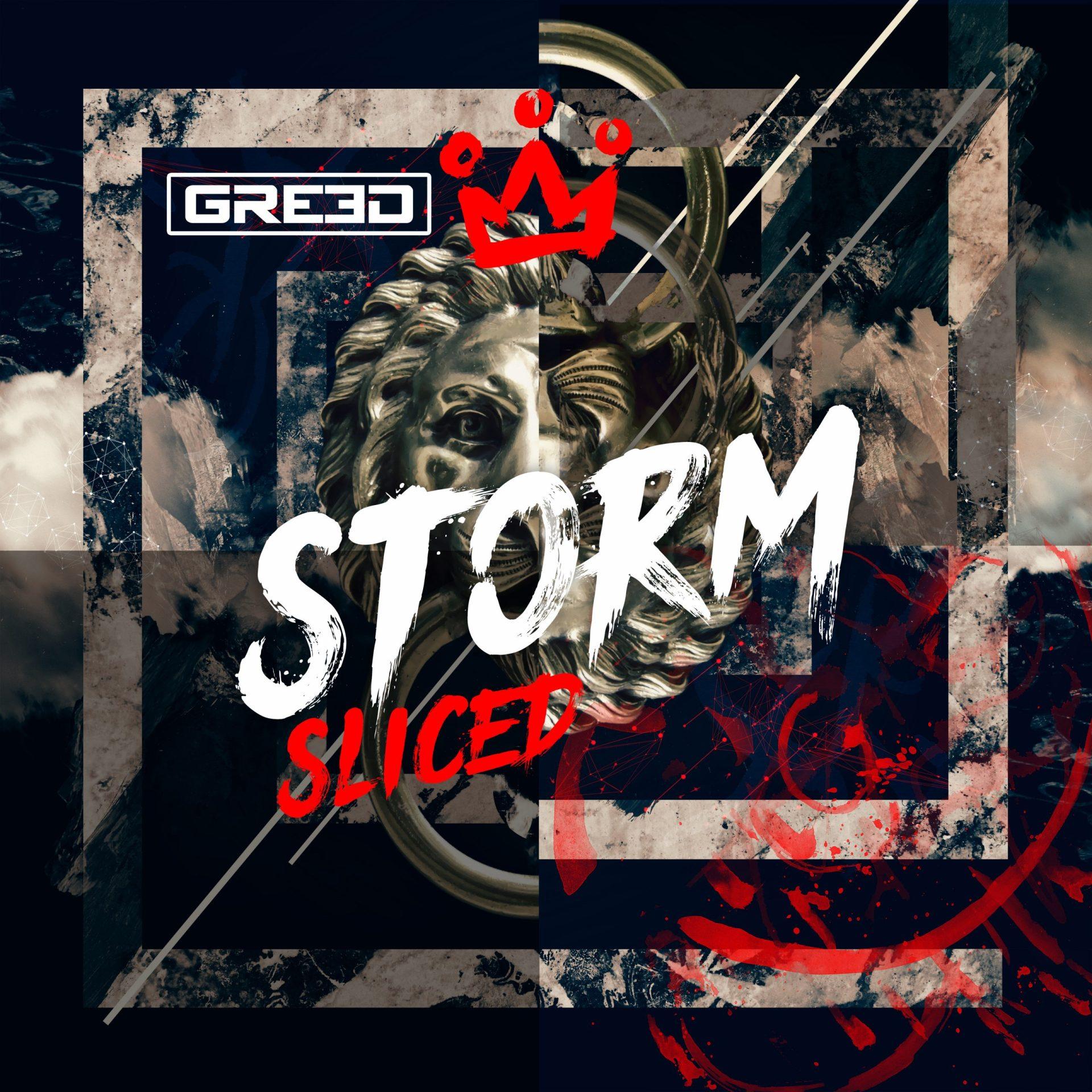 GR33D storm sliced album art cover design