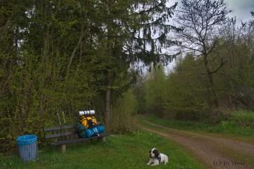 Die erste Rast kurz vorm Ziel. Hund weiterhin guter Dinge, Jo schwitzend und fluchend.^^