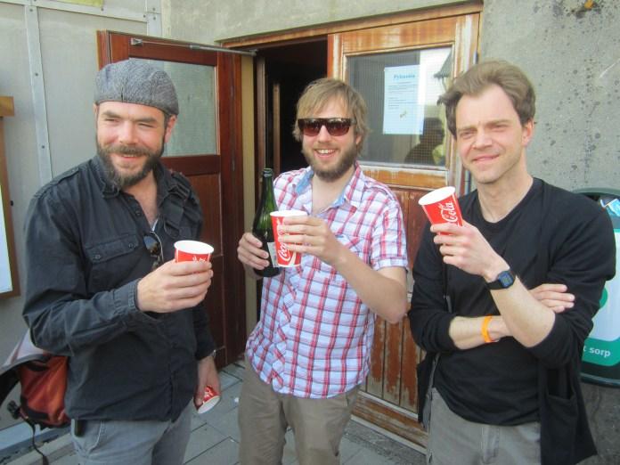 Friðrik örn Hjaltested, Hafsteinn Gunnar Sigurðsson og Huldar Breiðfjörð glaðir á Skjaldborg 2012.