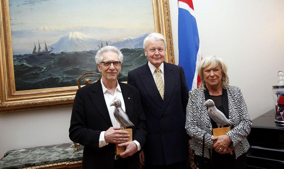 David Cronenberg, Ólafur Ragnar Grímsson og Margerethe von Trotta á Bessastöðum í gær. (Mynd: Eggert Jóhannesson.)