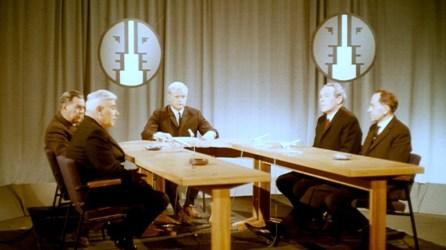 Umræðuþáttur 1967: Emil Jónsson, Bjarni Benediktsson, Markús Örn Antonsson, Magnús Kjartansson og Eysteinn Jónsson.