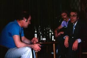 Upptökur á Undir sama þaki 1976. Róbert Arnfinnsson, Laddi, Steindór Hjörleifsson.