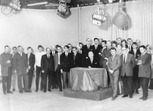 Fyrstu starfsmenn Sjónvarpsins. 30. september 1966, eftir fyrstu útsendinguna, 30. september 1966.