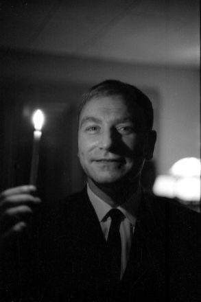 Ingvi Hjörleifsson ljósameistari. Ljósaprufa hjá DR 1966.