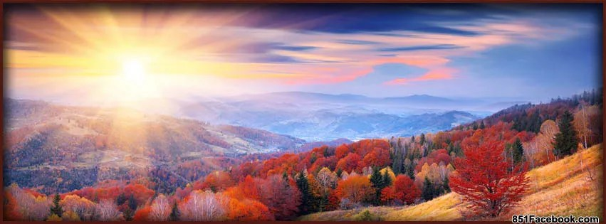 fall autumn leaves sunrise on hilltops facebook timeline cover banner for fb.jpg