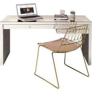 KARE DESIGN Luxury skrivebord - champagnefarvet spejlglas, m. 3 skuffer, 140x60