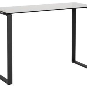 Katrine konsolbord - røget/sort glas/metal, rektangulær (110x40)