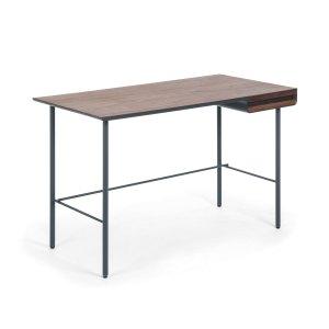 LAFORMA Mahon skrivebord - valnød finér og gråsort metal og træ, m. 1 skuffe (120x60)